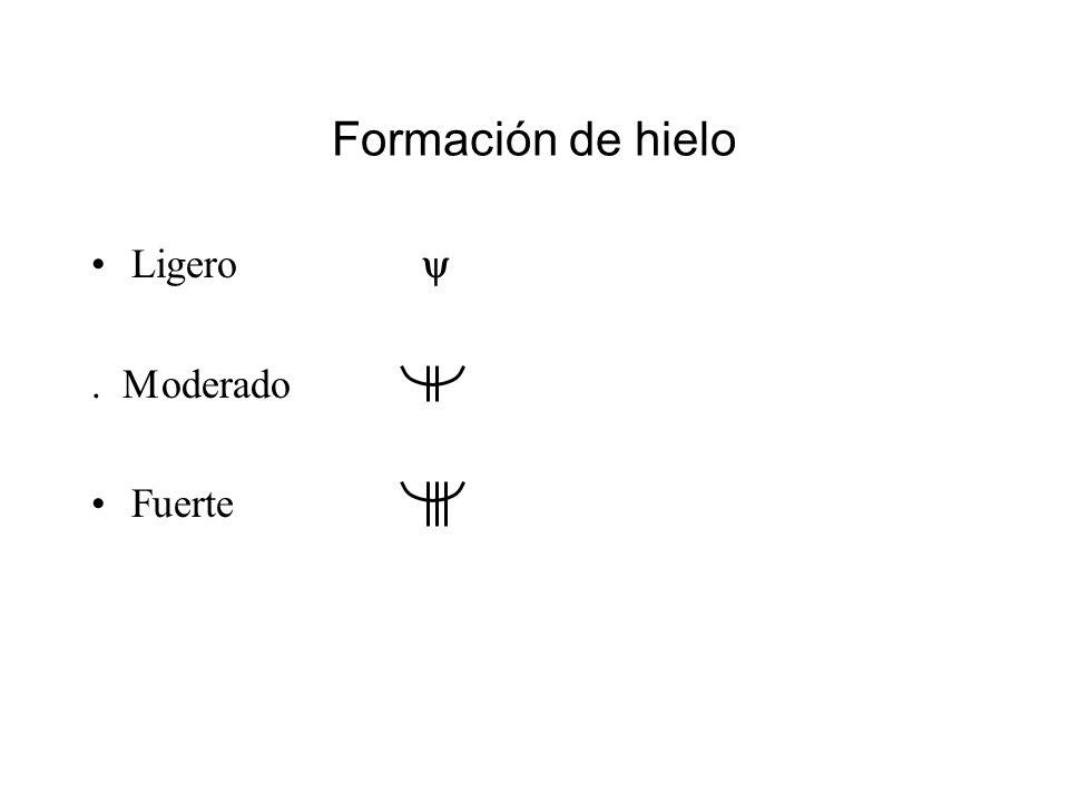 Formación de hielo Ligero y . Moderado Fuerte