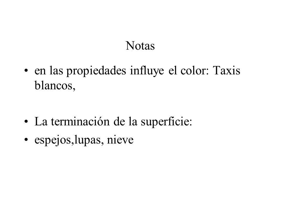 en las propiedades influye el color: Taxis blancos,