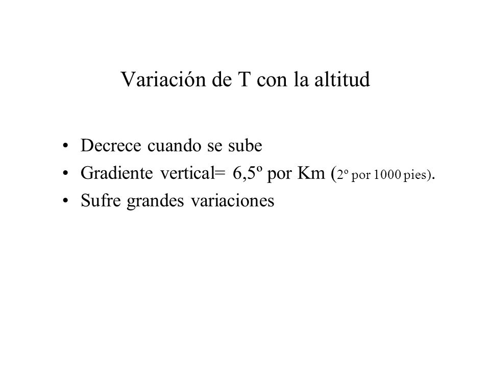Variación de T con la altitud