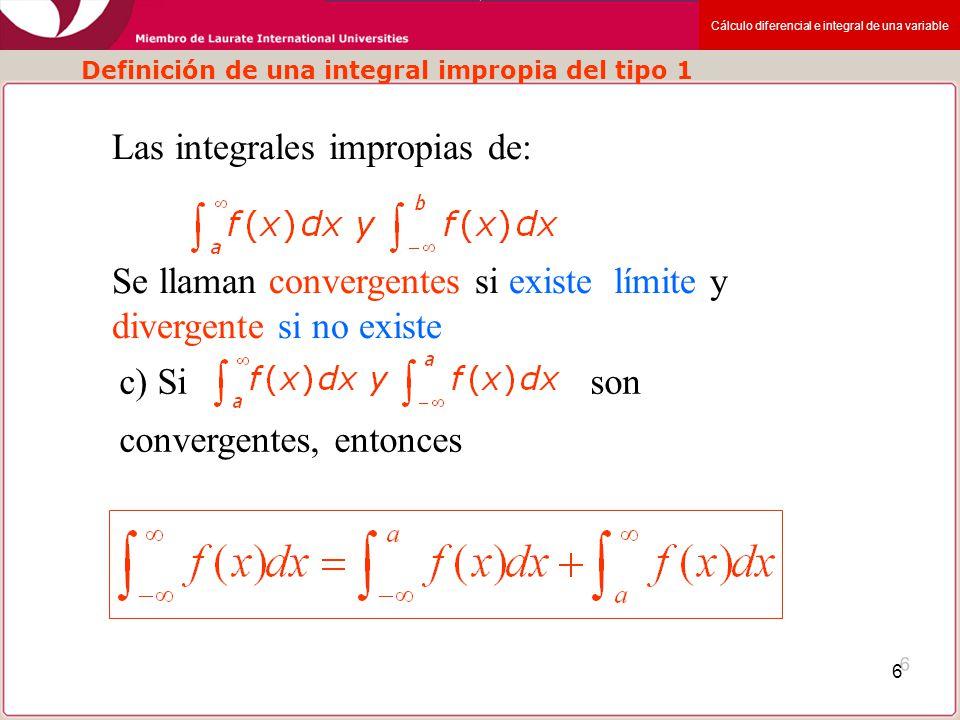 Definición de una integral impropia del tipo 1