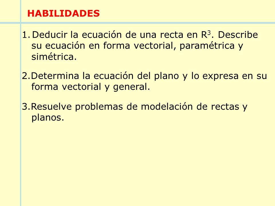 HABILIDADES Deducir la ecuación de una recta en R3. Describe. su ecuación en forma vectorial, paramétrica y.