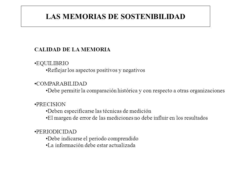 LAS MEMORIAS DE SOSTENIBILIDAD