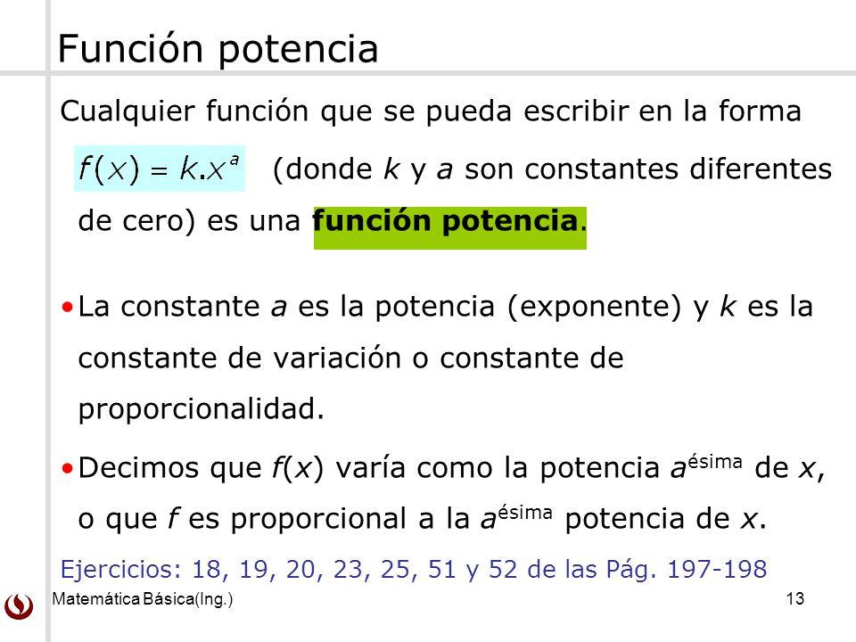 Función potencia Cualquier función que se pueda escribir en la forma