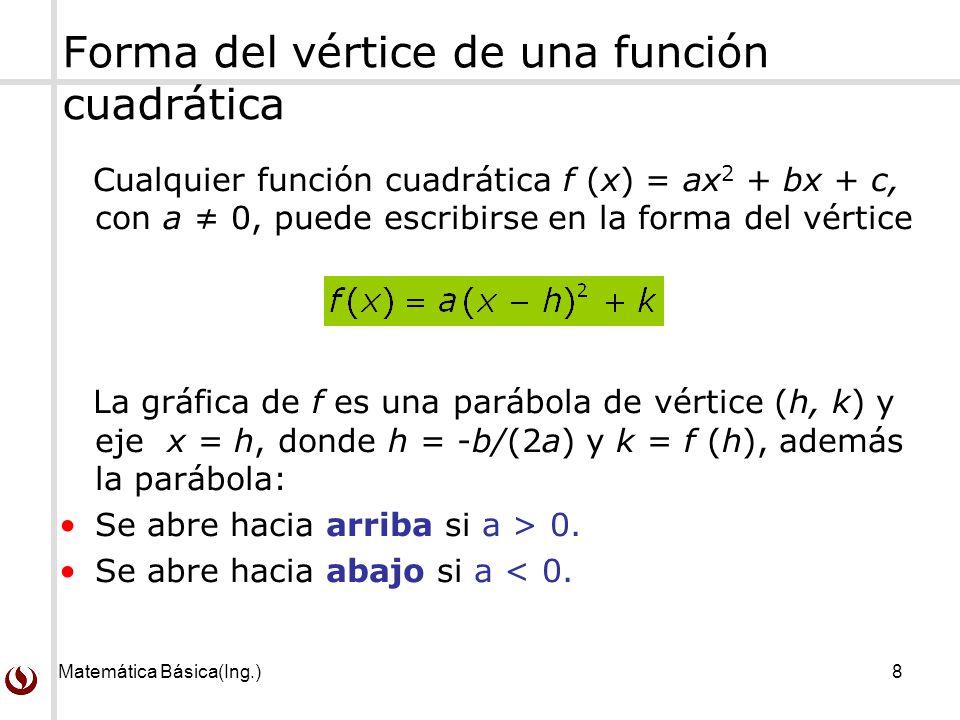 Forma del vértice de una función cuadrática