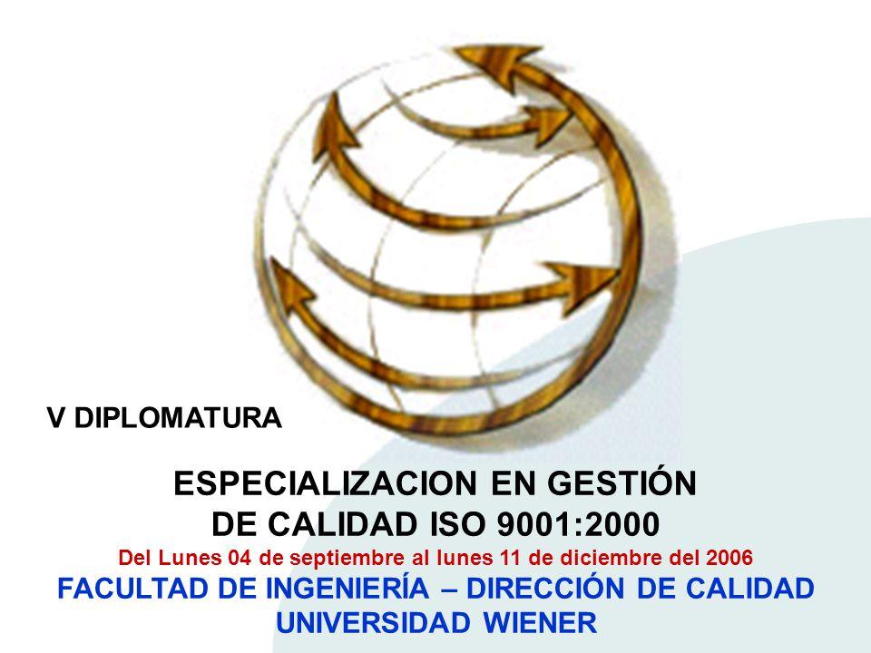ESPECIALIZACION EN GESTIÓN DE CALIDAD ISO 9001:2000