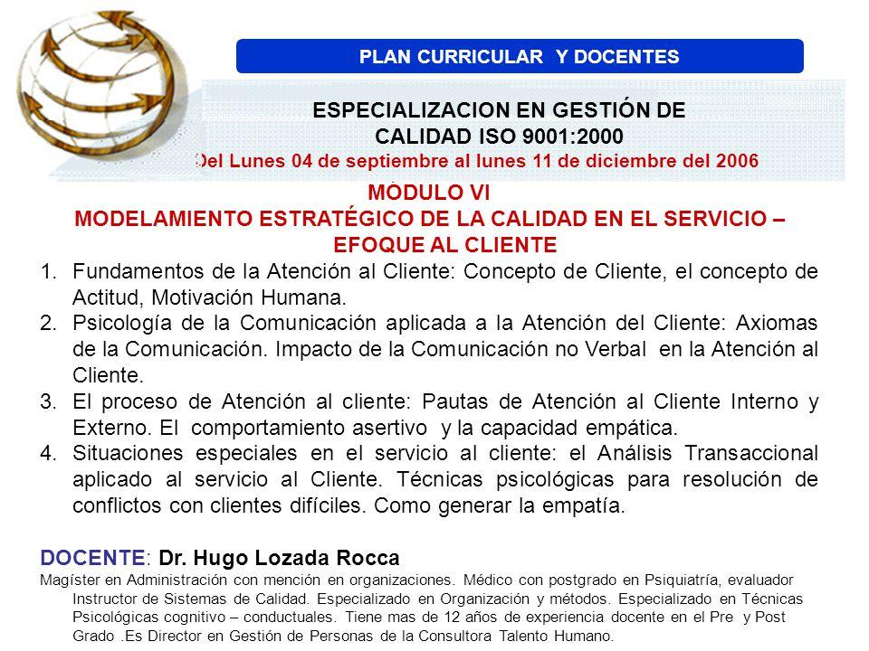 PLAN CURRICULAR Y DOCENTES ESPECIALIZACION EN GESTIÓN DE