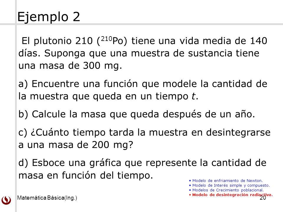Ejemplo 2 El plutonio 210 (210Po) tiene una vida media de 140 días. Suponga que una muestra de sustancia tiene una masa de 300 mg.