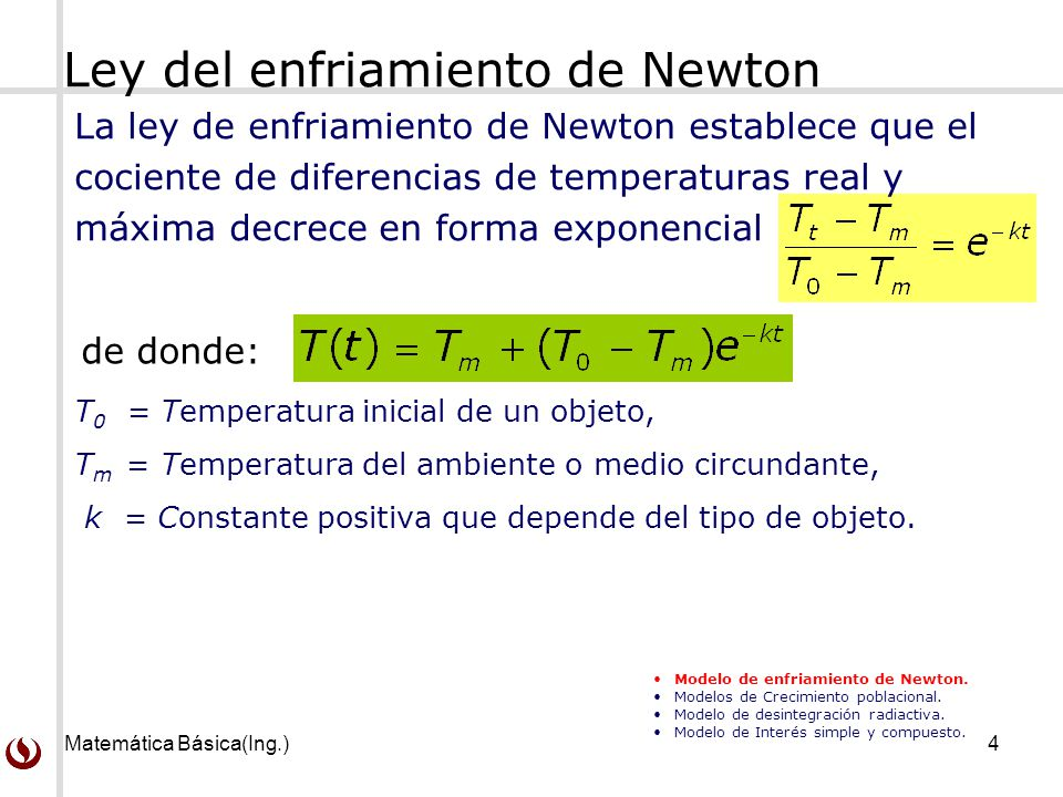 Ley del enfriamiento de Newton
