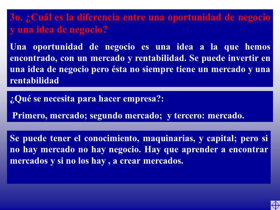 3o. ¿Cuál es la diferencia entre una oportunidad de negocio y una idea de negocio