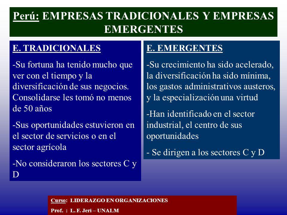 Perú: EMPRESAS TRADICIONALES Y EMPRESAS EMERGENTES