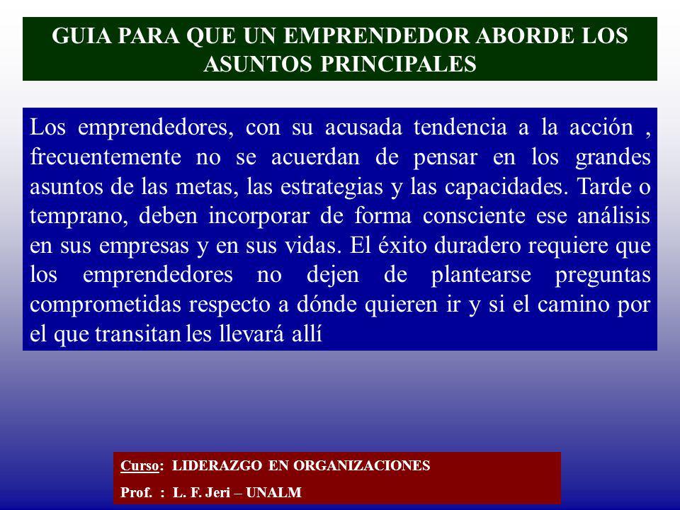 GUIA PARA QUE UN EMPRENDEDOR ABORDE LOS ASUNTOS PRINCIPALES