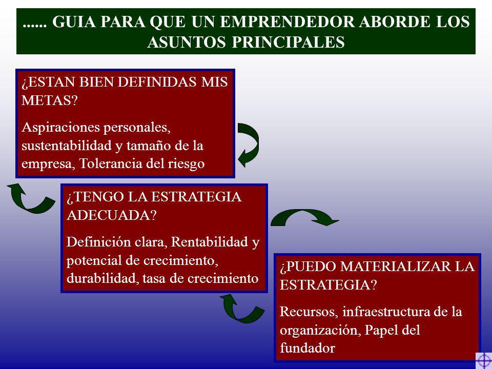 ...... GUIA PARA QUE UN EMPRENDEDOR ABORDE LOS ASUNTOS PRINCIPALES