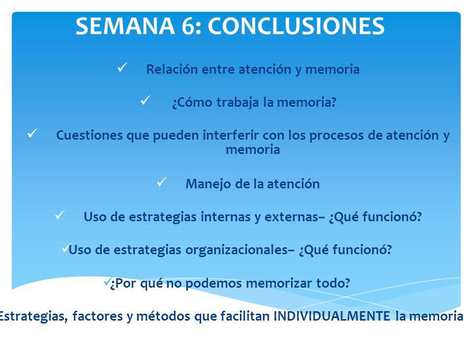 SEMANA 6: CONCLUSIONES Relación entre atención y memoria