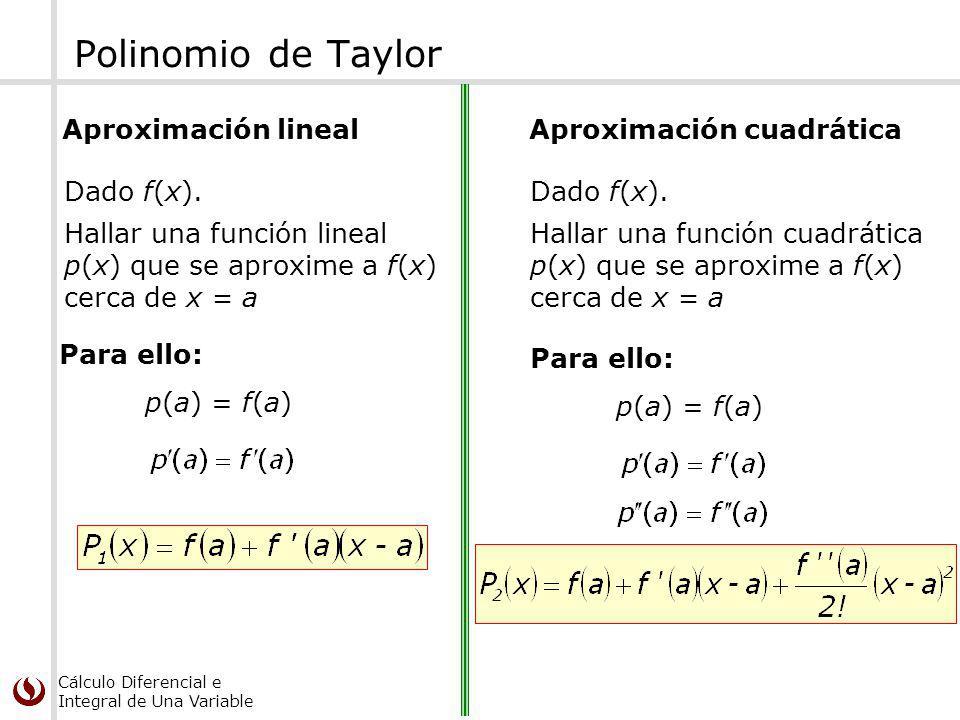Polinomio de Taylor Aproximación lineal Aproximación cuadrática
