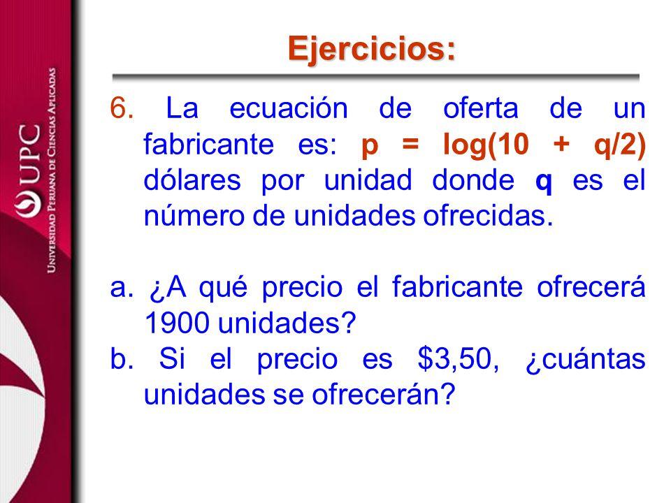 Ejercicios: 6. La ecuación de oferta de un fabricante es: p = log(10 + q/2) dólares por unidad donde q es el número de unidades ofrecidas.