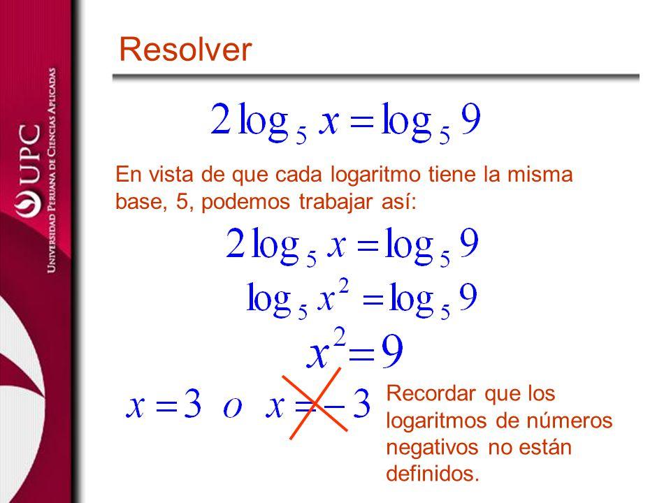 Resolver En vista de que cada logaritmo tiene la misma base, 5, podemos trabajar así: