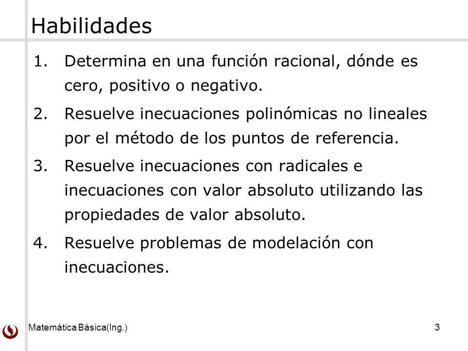 Habilidades Determina en una función racional, dónde es cero, positivo o negativo.