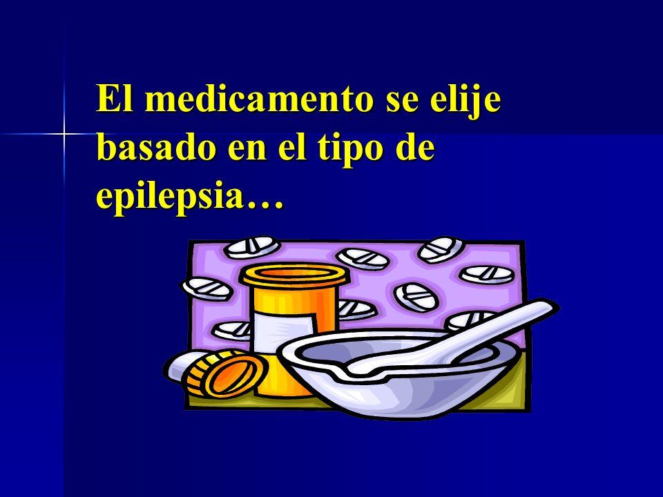 El medicamento se elije basado en el tipo de epilepsia…