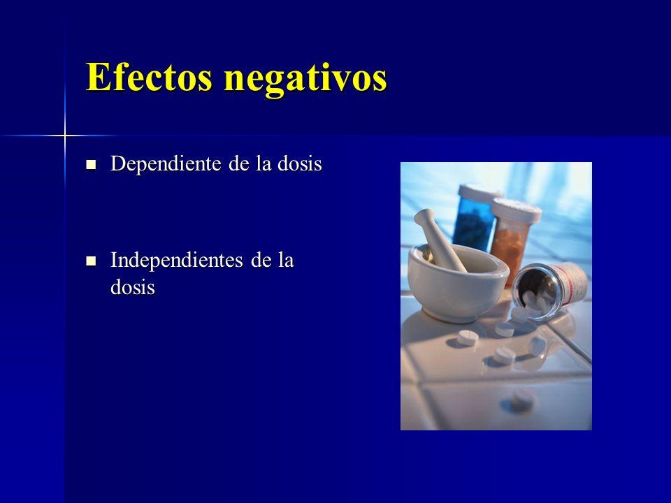 Efectos negativos Dependiente de la dosis Independientes de la dosis