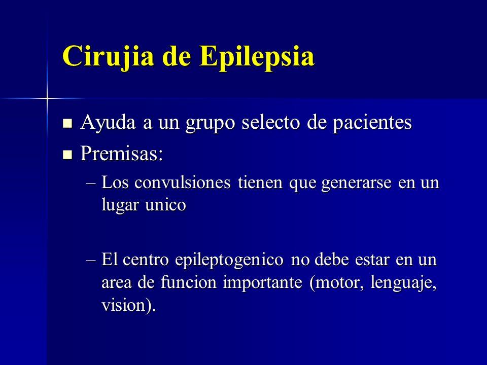 Cirujia de Epilepsia Ayuda a un grupo selecto de pacientes Premisas: