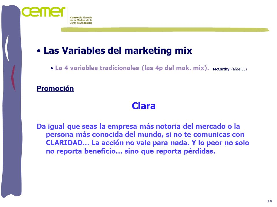 Las Variables del marketing mix Clara
