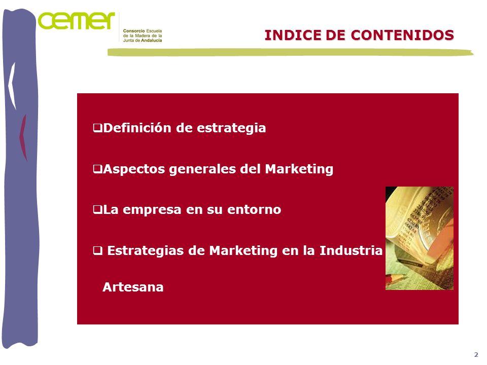 INDICE DE CONTENIDOS Definición de estrategia