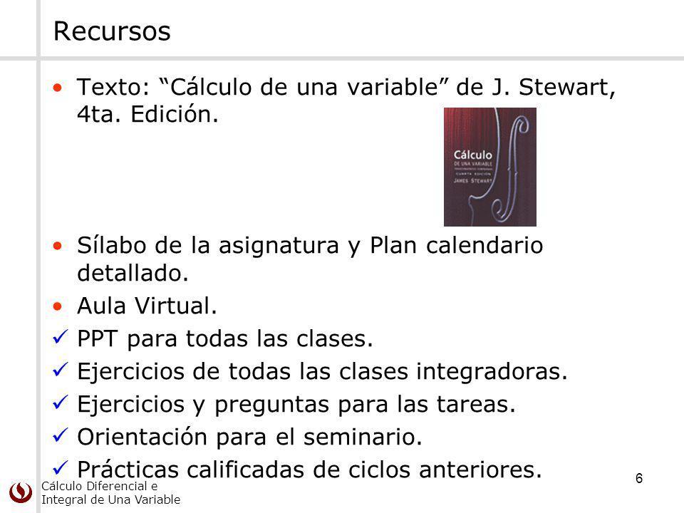 Recursos Texto: Cálculo de una variable de J. Stewart, 4ta. Edición.