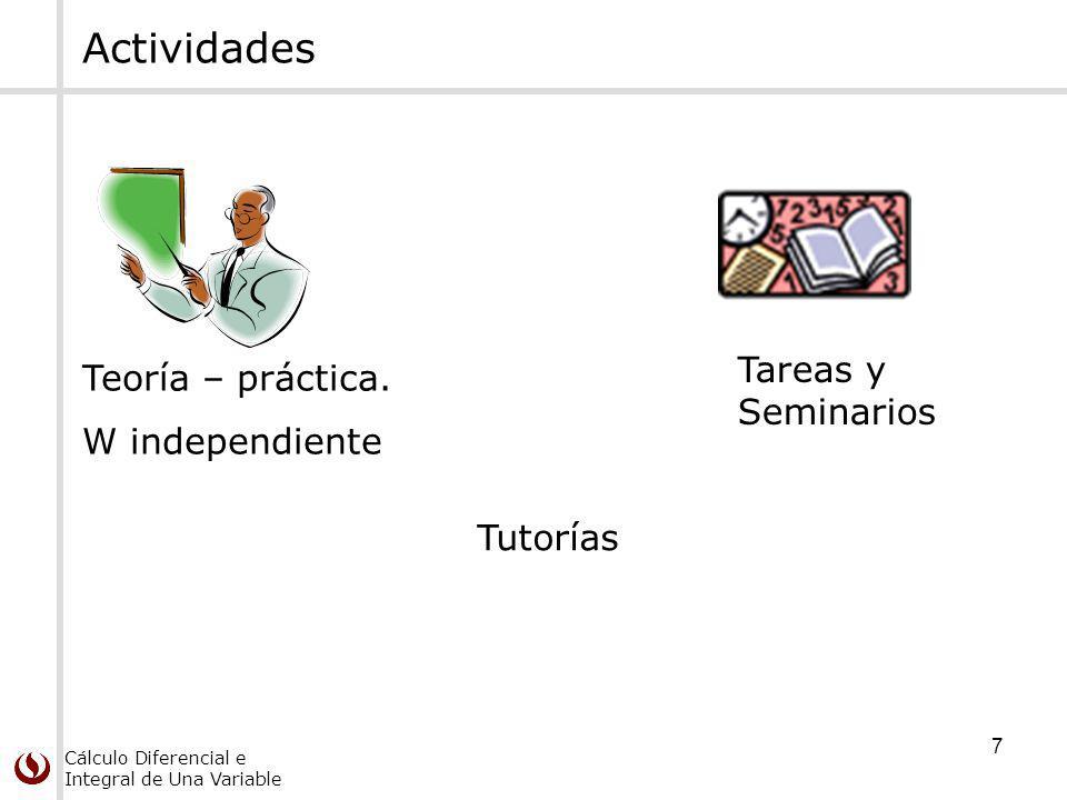 Actividades Tareas y Seminarios Teoría – práctica. W independiente