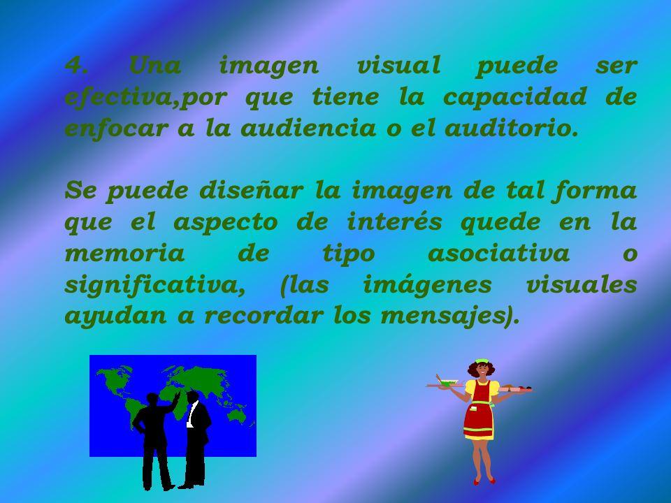 4. Una imagen visual puede ser efectiva,por que tiene la capacidad de enfocar a la audiencia o el auditorio.