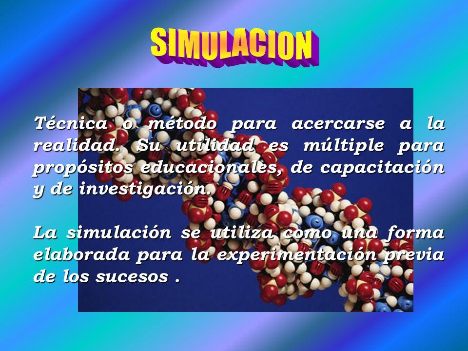 SIMULACION Técnica o método para acercarse a la realidad. Su utilidad es múltiple para propósitos educacionales, de capacitación y de investigación.