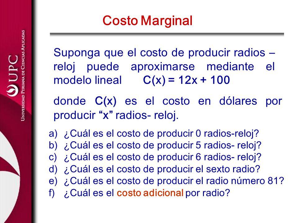 Costo Marginal Suponga que el costo de producir radios – reloj puede aproximarse mediante el modelo lineal C(x) = 12x + 100.