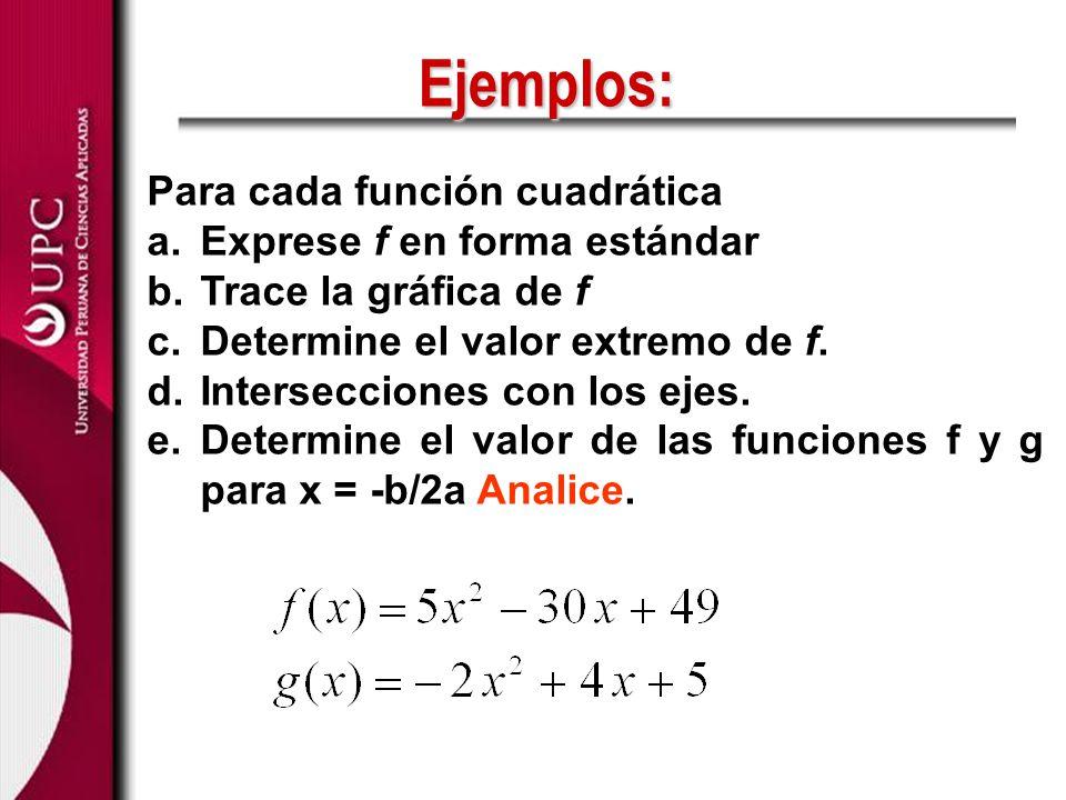 Ejemplos: Para cada función cuadrática Exprese f en forma estándar