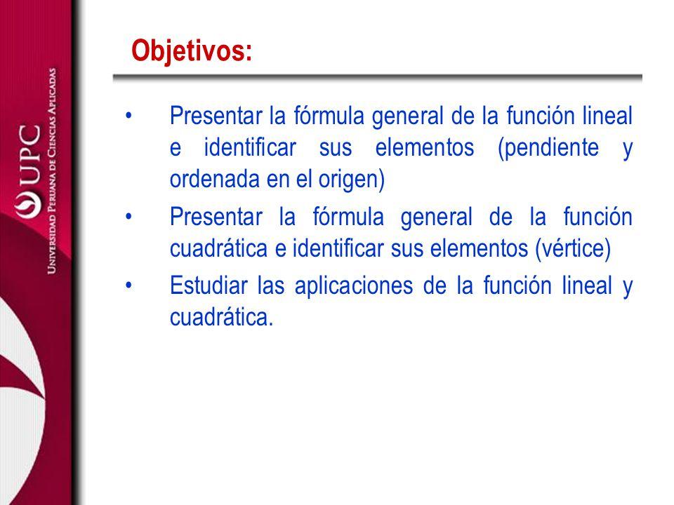 Objetivos: Presentar la fórmula general de la función lineal e identificar sus elementos (pendiente y ordenada en el origen)
