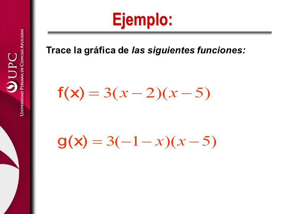 Ejemplo: Trace la gráfica de las siguientes funciones: