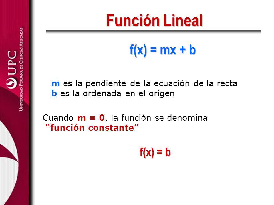 Función Lineal f(x) = mx + b f(x) = b