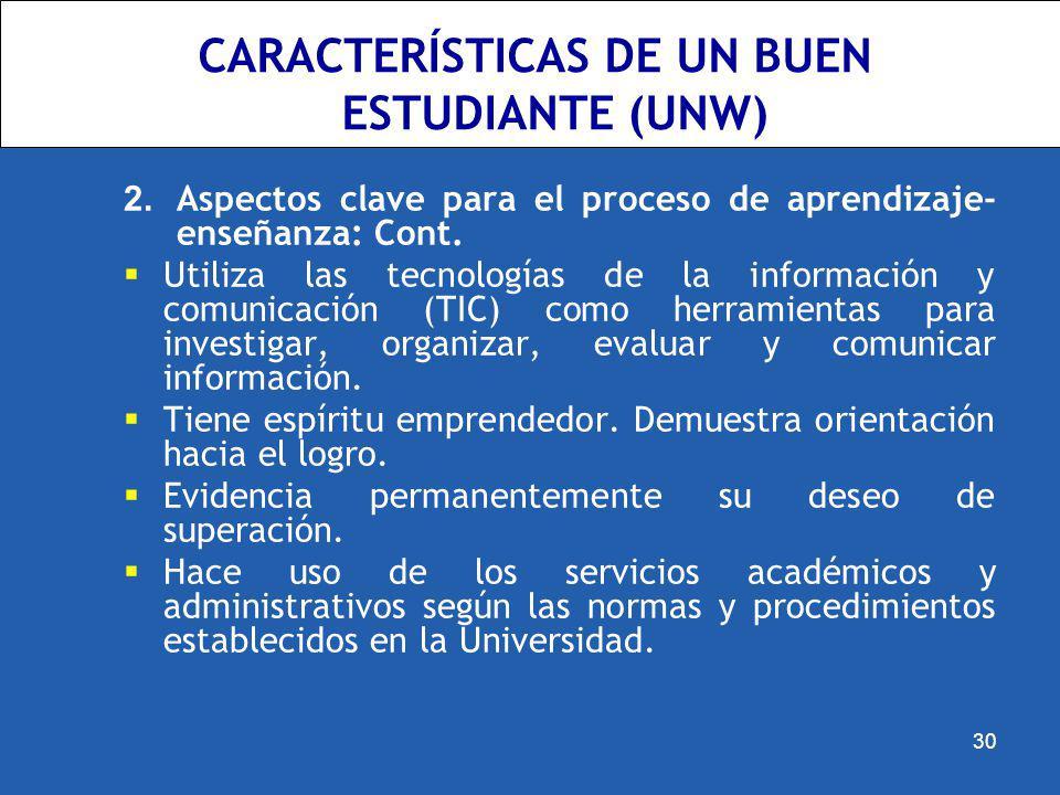 CARACTERÍSTICAS DE UN BUEN ESTUDIANTE (UNW)