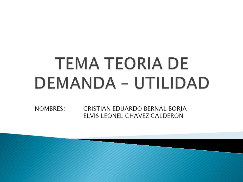 TEMA TEORIA DE DEMANDA – UTILIDAD