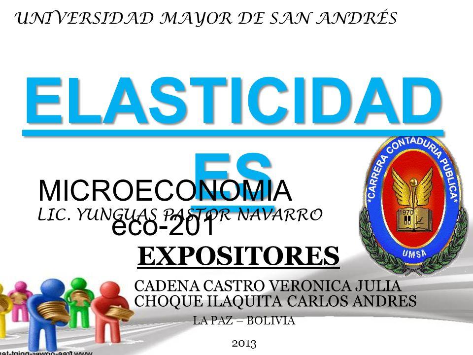 ELASTICIDADES MICROECONOMIA eco-201 EXPOSITORES
