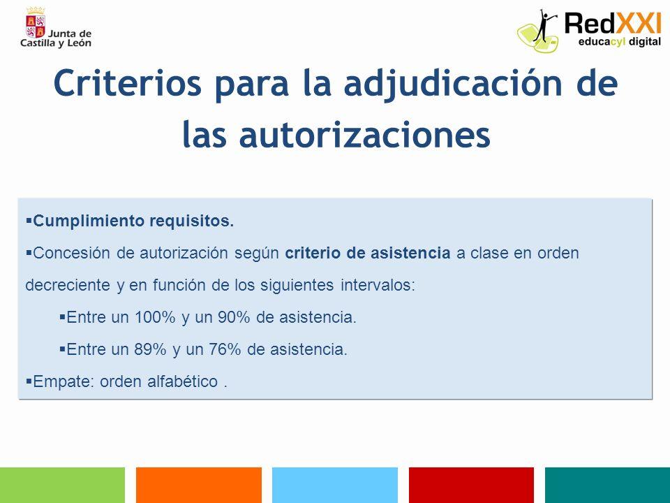Criterios para la adjudicación de las autorizaciones