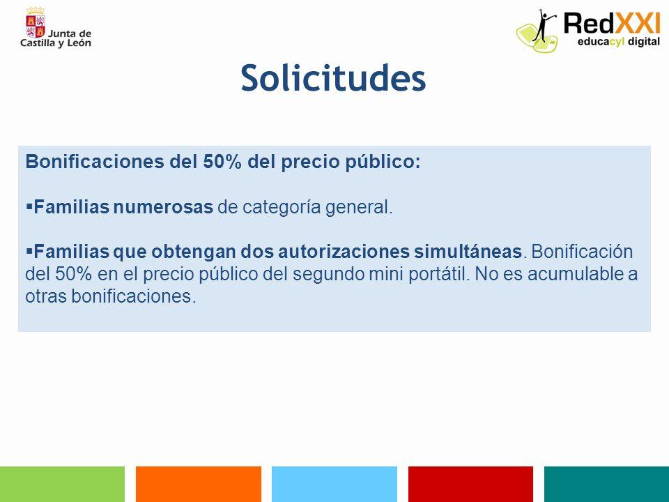 Solicitudes Bonificaciones del 50% del precio público: