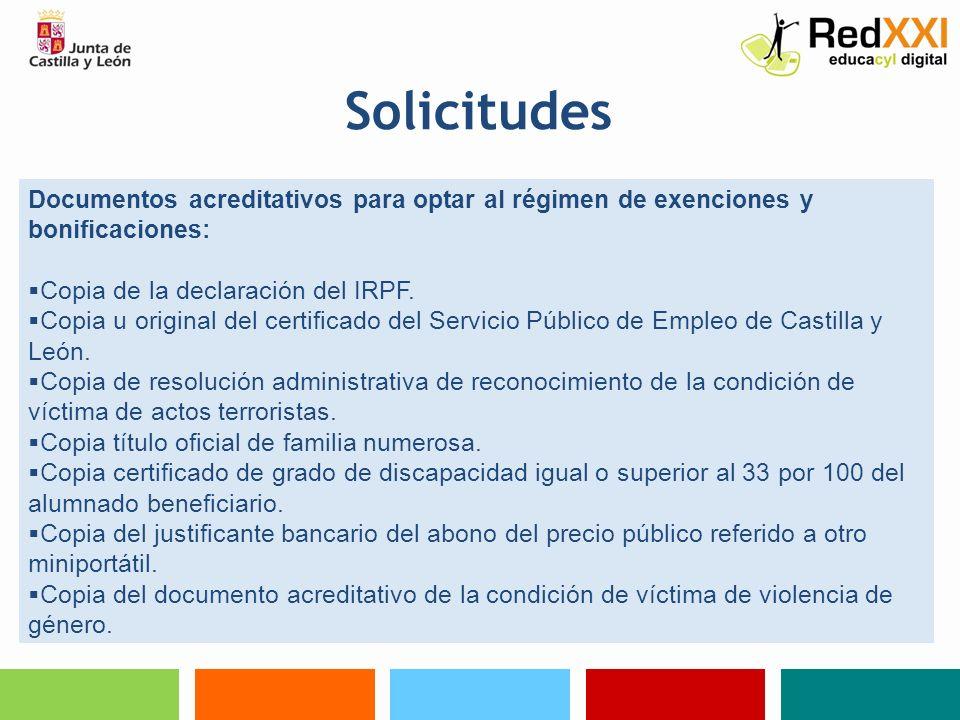 SolicitudesDocumentos acreditativos para optar al régimen de exenciones y bonificaciones: Copia de la declaración del IRPF.