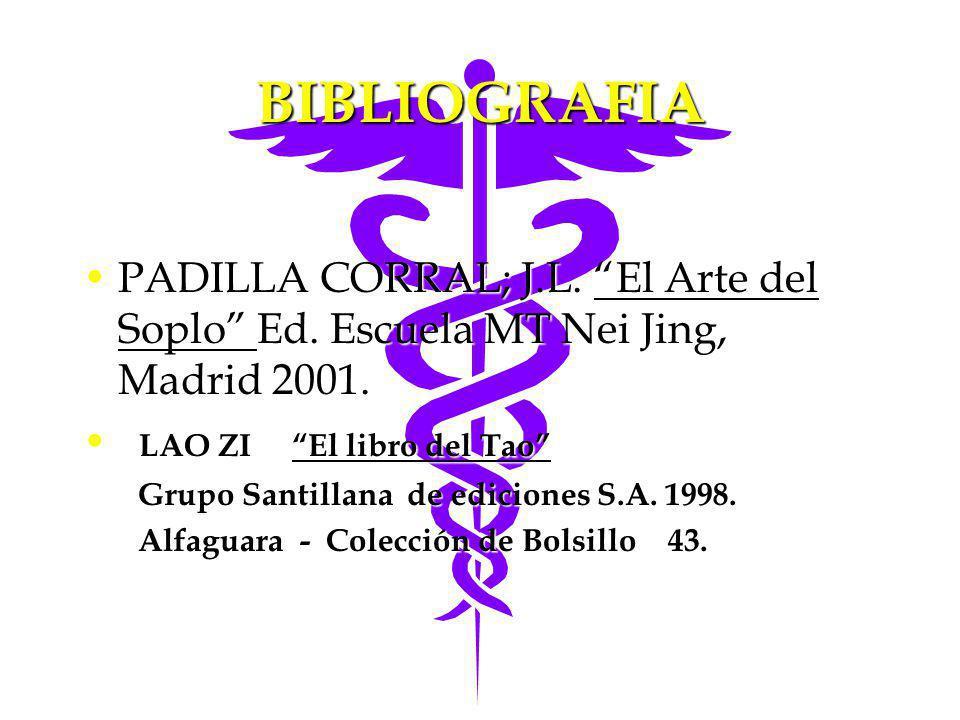 BIBLIOGRAFIA PADILLA CORRAL; J.L. El Arte del Soplo Ed. Escuela MT Nei Jing, Madrid 2001. LAO ZI El libro del Tao
