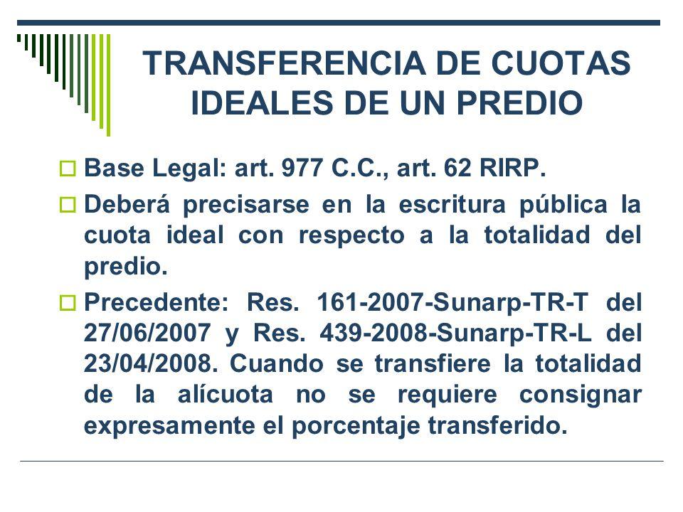 TRANSFERENCIA DE CUOTAS IDEALES DE UN PREDIO