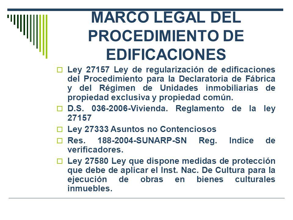 MARCO LEGAL DEL PROCEDIMIENTO DE EDIFICACIONES