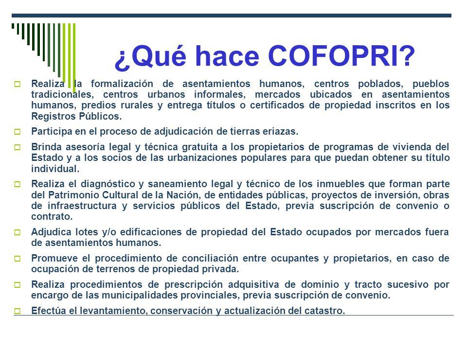 ¿Qué hace COFOPRI