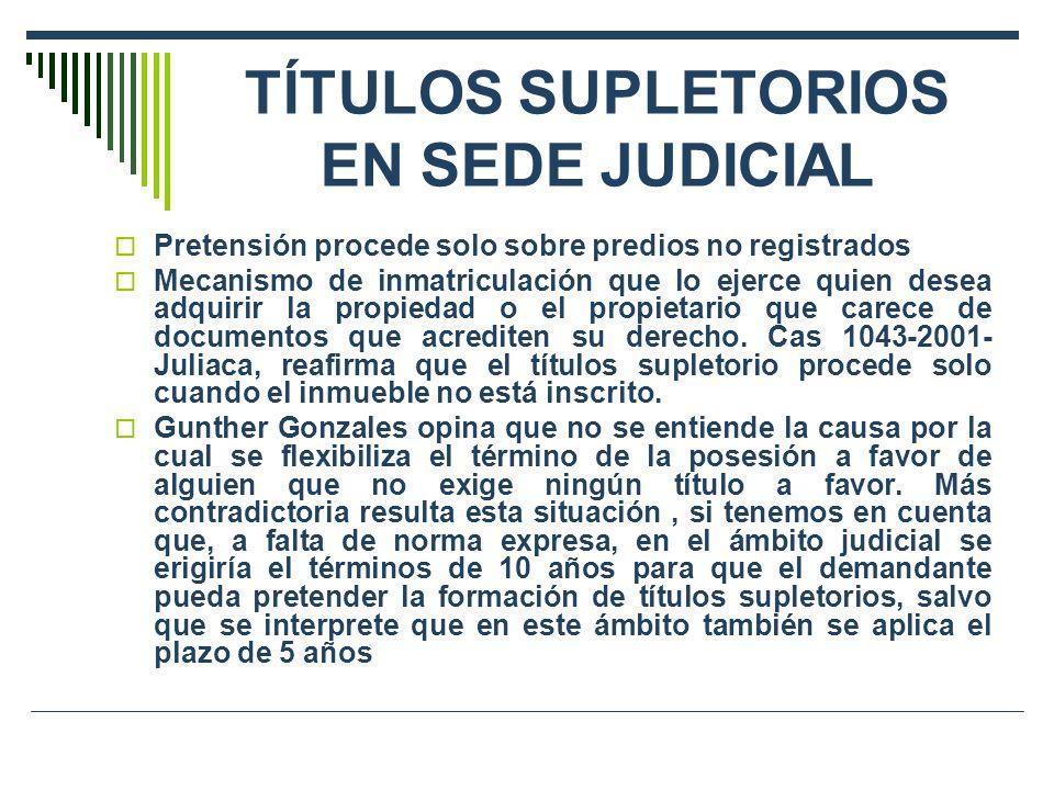 TÍTULOS SUPLETORIOS EN SEDE JUDICIAL