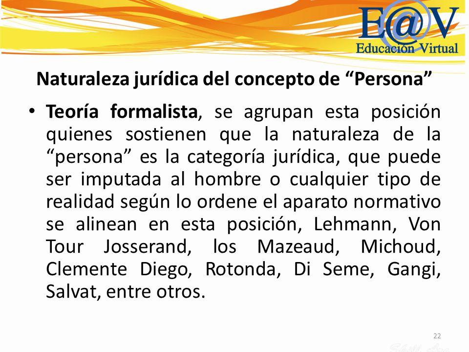Naturaleza jurídica del concepto de Persona