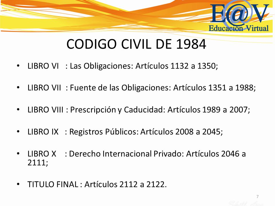 CODIGO CIVIL DE 1984 LIBRO VI : Las Obligaciones: Artículos 1132 a 1350; LIBRO VII : Fuente de las Obligaciones: Artículos 1351 a 1988;