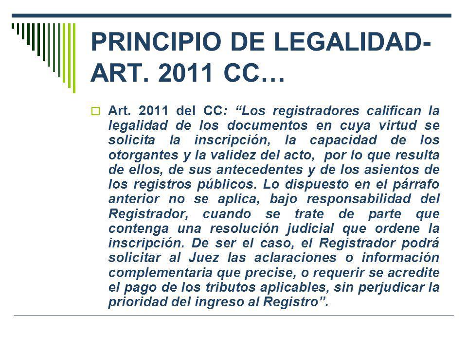 PRINCIPIO DE LEGALIDAD- ART. 2011 CC…