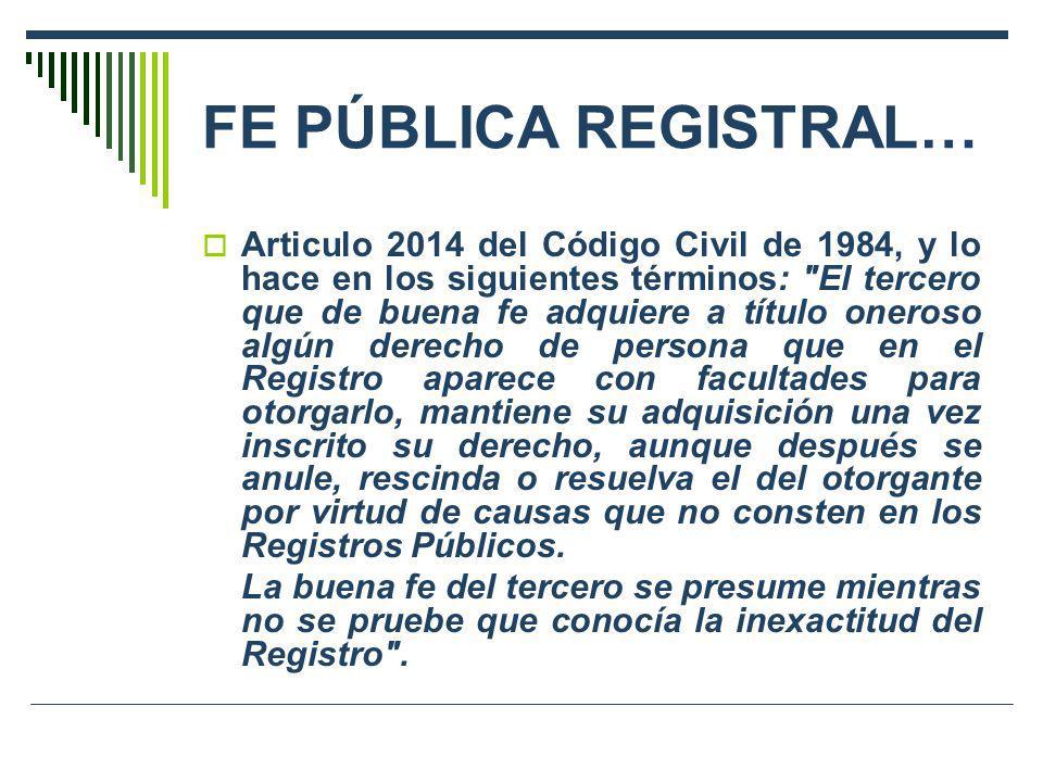 FE PÚBLICA REGISTRAL…